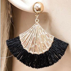 Brand New Chic Black & Gold Fringe Shell Earrings